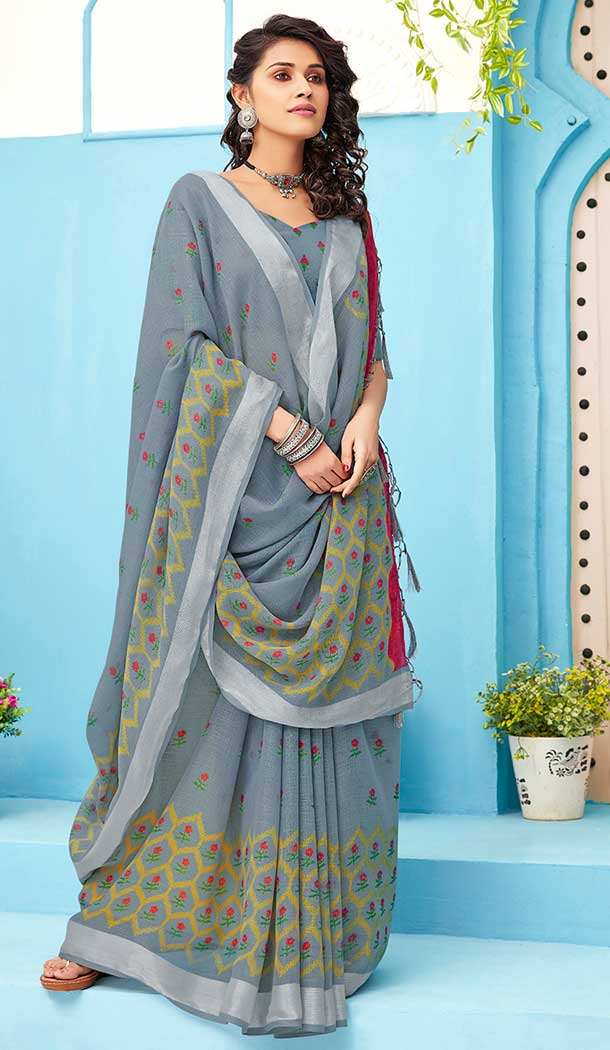 Grey Color Linen Cotton Print Casual Office Wear Saree Blouse -819299626