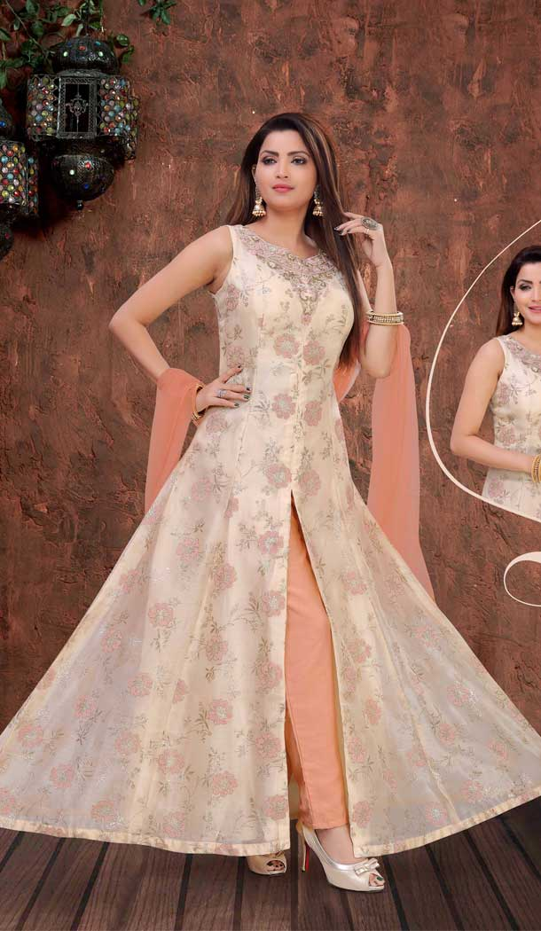 Off White Color Orgenza Beads Designer Readymade Indo Weastern Suit -8232100016
