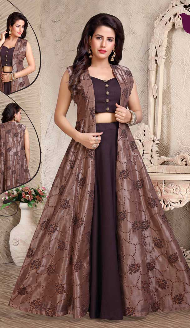 Coffee Color Orgenza Beads Designer Readymade Indo Weastern Suit -8232100017