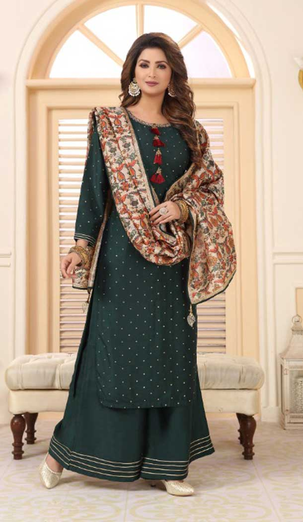 Dark Green Color Soft Cotton Designer Party Wear Ready Made Dresses -8243100126