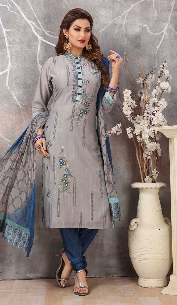 Grey Color Soft Cotton Designer Party Wear Ready Made Dresses -8243100134