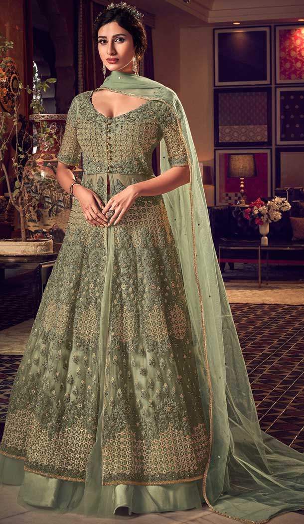 Sea Green Color Butter Fly Net Designer Party Wear Indo Western Suit -8351101148