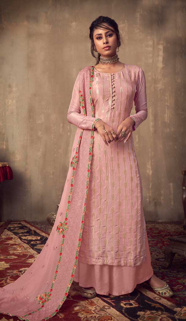 Baby Pink Color Pure Viscose Jacquard Designer Party Wear Palazzo Suit -8701104423