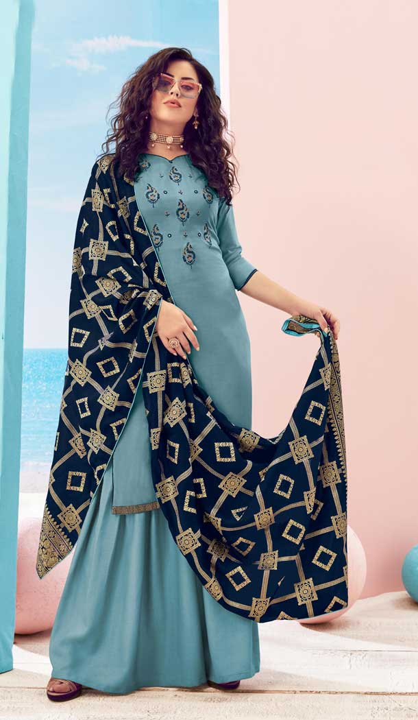 Steel Blue Color Pure Viscose Maslin Casual Party Wear Palazzo Suit -8721104548