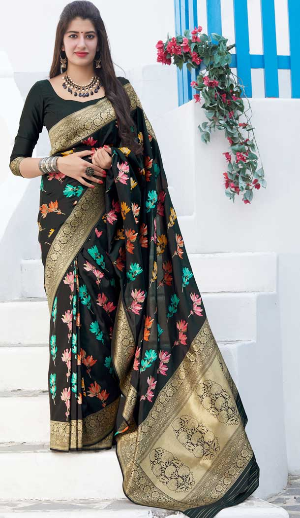 Black Color Soft Silk jacquard work Designer Party Wear Saree Blouse -8761104870