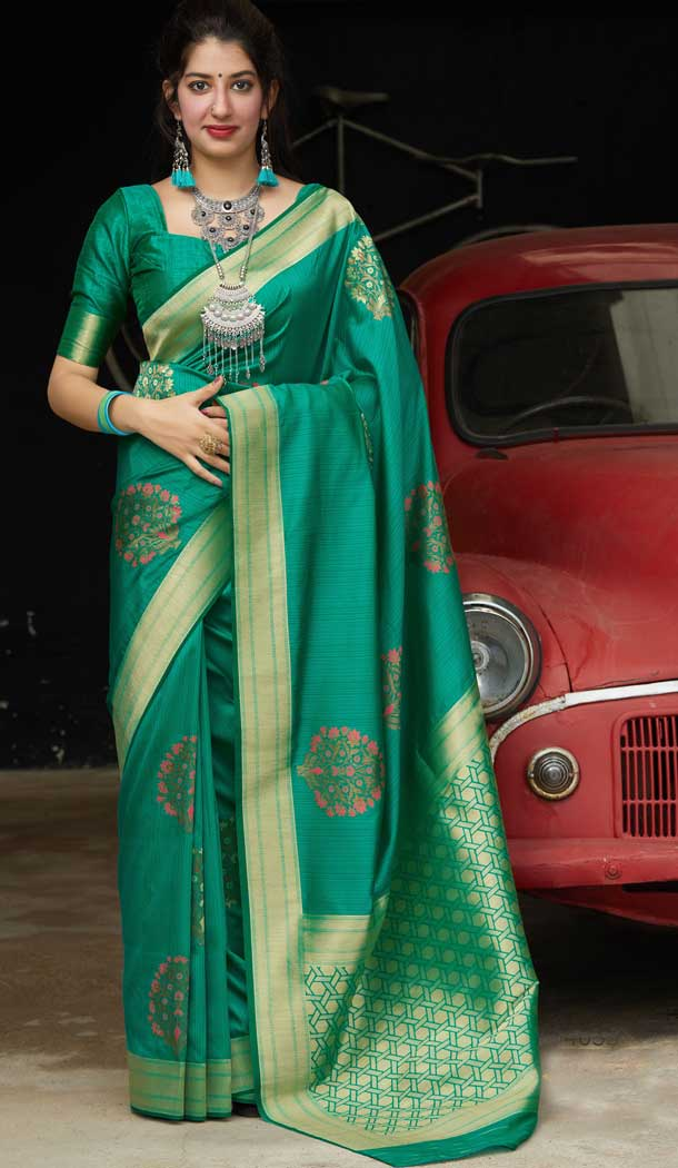 Glamorous Green Color Soft Silk jacquard work Designer Party Wear Saree Blouse -8761104872