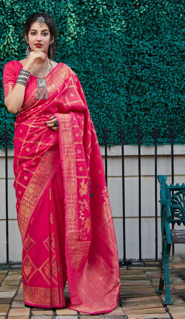 Alluring Pink Color Soft Silk jacquard work Designer Party Wear Saree Blouse -8761104874
