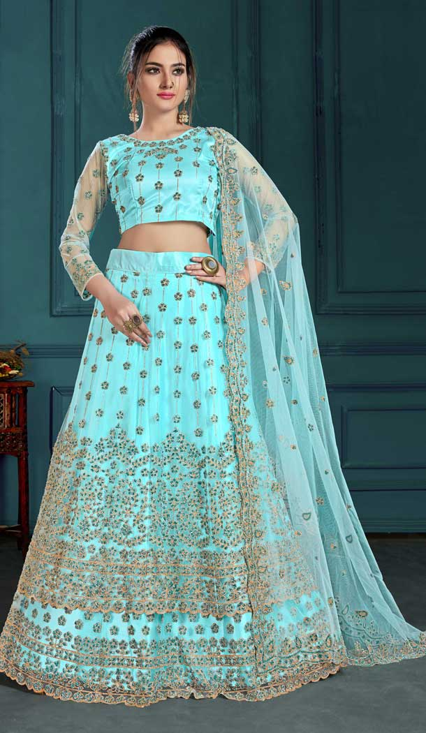 Sky Blue Color Net Designer Wedding Wear Lehenga Choli For Women -8797105165