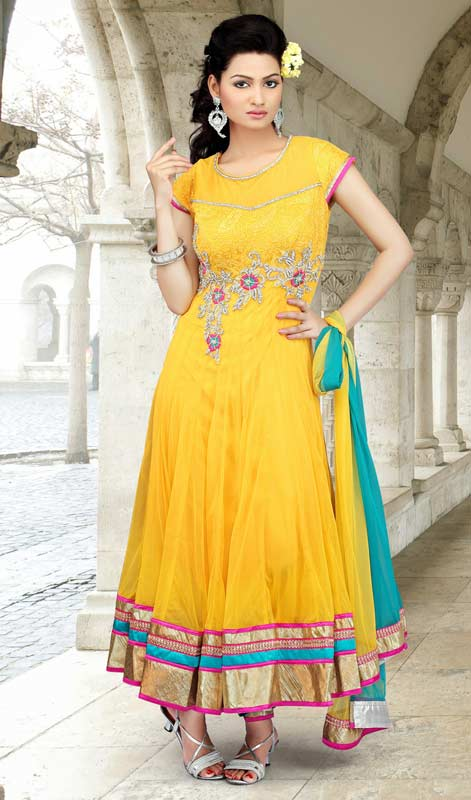 Melodic Gold Color Salwar Kameez