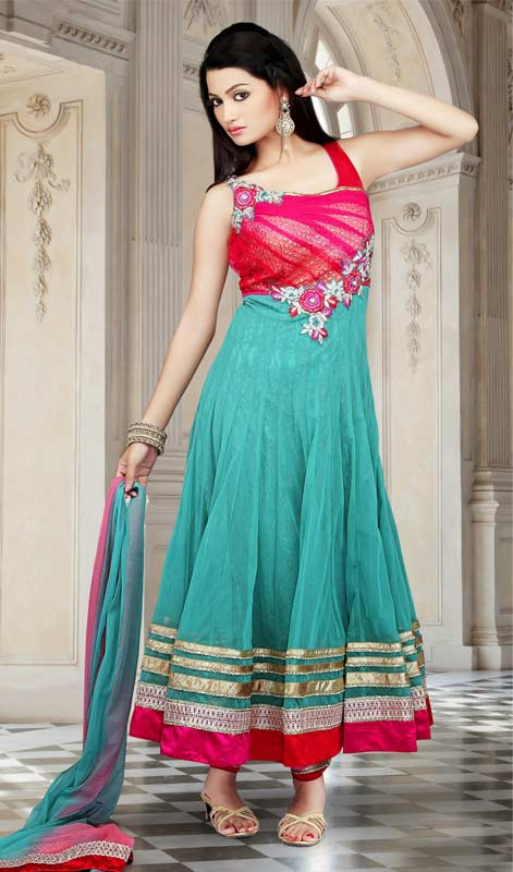 Mesmerizing Greenish Blue & Red Salwar Kameez