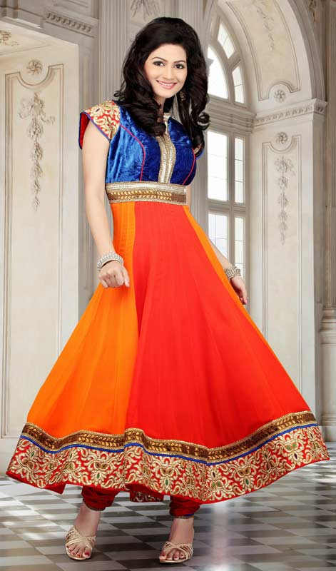 Dazzling Diva Deep Orange, Royal Blue & Tometo Salwar Kameez