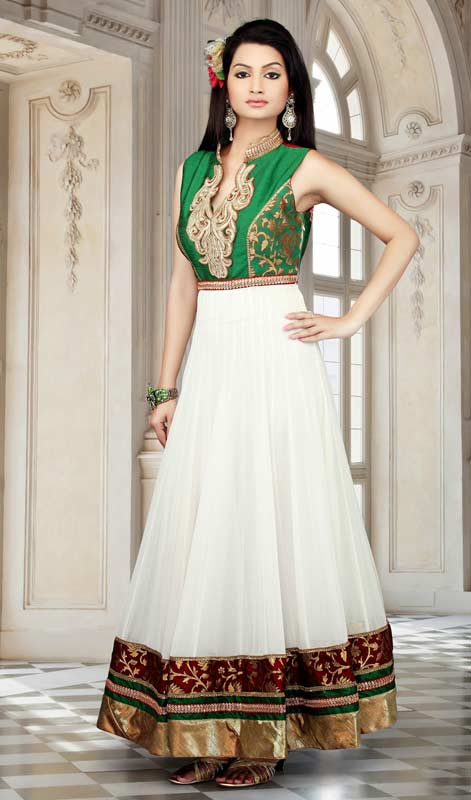 Plushy Green & White Salwar Kameez