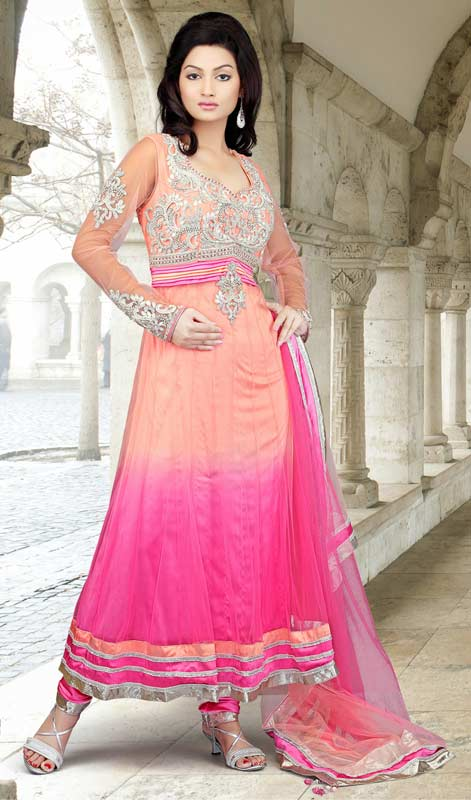 Contemporary Peach Puff & Pink Salwar Kameez