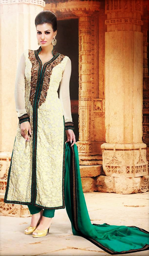 Ravishing Buttercream Faux Georgette Party Wear Churidar Kameez -291951888