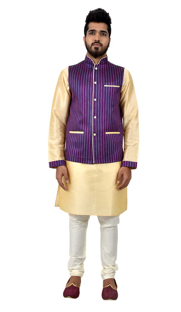Mens Art Silk Cream Kurta Pajama with Nehru Jecket | FHK13465464