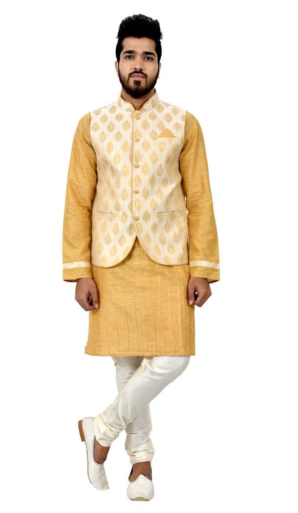 Mens Cotton Silk Golden Yellow Kurta Pajama with Nehru Jecket | FHK13465468