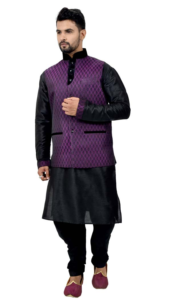 Mens Art Silk Black Kurta Pajama with Nehru Jecket | FHK13465469