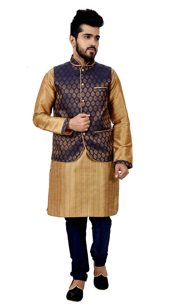 Mens Art Silk Golden Kurta Pajama with Nehru Jecket | FHK13465470