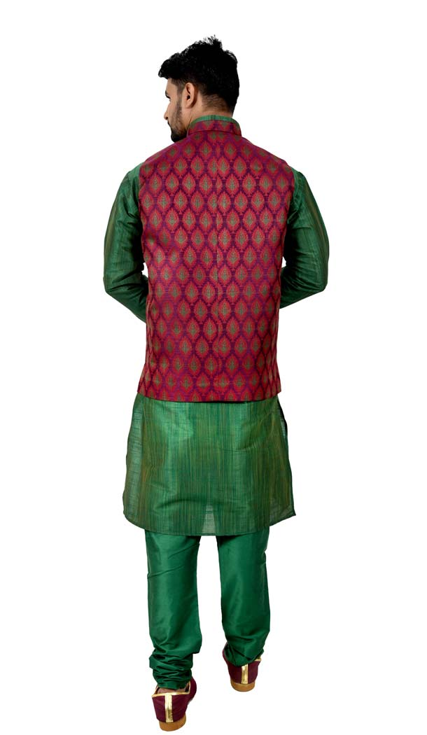 Mens Ghiccha Silk Green Kurta Pajama with Nehru Jecket | FHK13465471