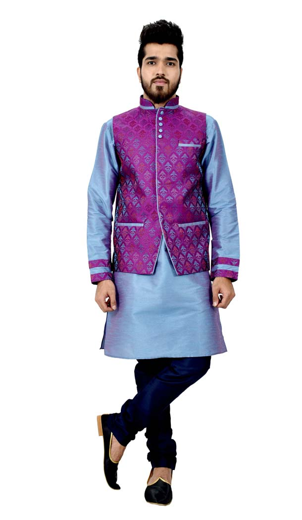 Mens Art Silk little boy blue Kurta Pajama with Nehru Jecket | FHK13465473