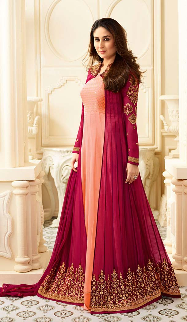 Kareena Kapoor Light Pink Georgette Long Salwar Kameez | FHK13275486