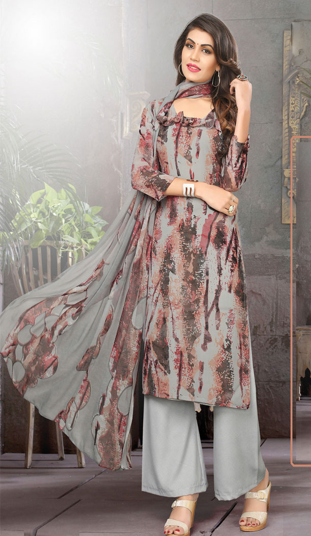Buy Printed Straight Cut Suit in Gray Color with dupatta Faux Chiffon Dupatta online | FHKF13465652