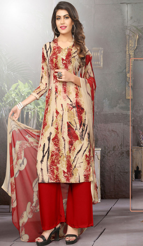 Buy Printed Straight Cut Suit in Cream Red Color with dupatta Faux Chiffon Dupatta online  | FHKF13465653