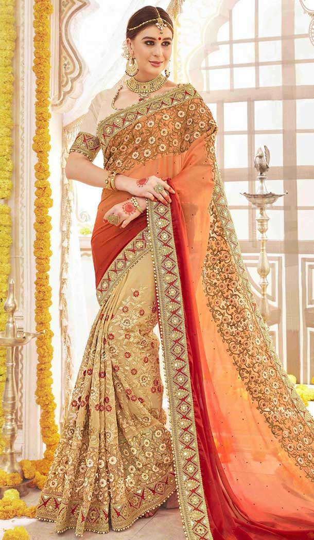 Beige and Cream Color Georgette Designers Wedding Bridal Sarees with Art Silk Blouse | FHRK248628616