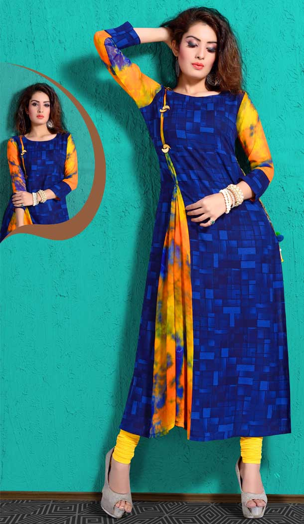 Chanderi Digital Printed Grey Color Straight Readymade Kurtis | FHRK248928663