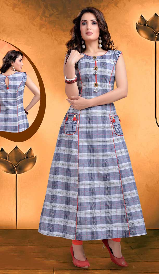 Checks Digital Printed Orange Color Straight Readymade Kurtis | FHRK248928668