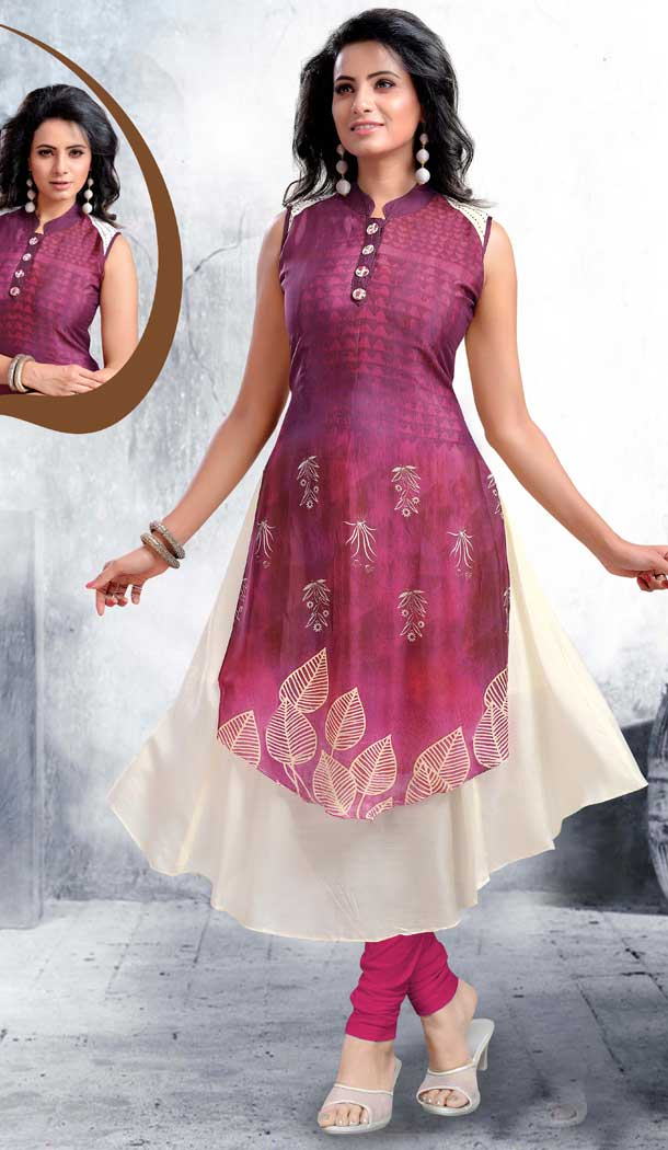 Checks Digital Printed Orange Color Straight Readymade Kurtis | FHRK248928669