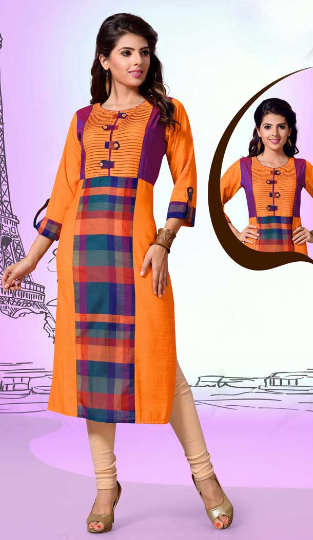Chanderi Cotton Digital Printed Orange and Cream Color Straight Readymade Kurtis | FHRK248928674