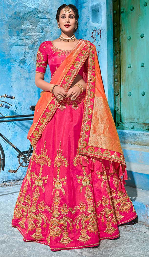 Red gold wedding lehenga